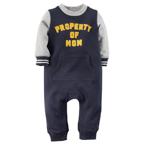 "Carter's Baby Boys ""Property of Mom"" Long Sleeve French Terry Jumpsuit, Navy"