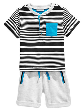First Impressions Baby Boys 2-Piece Henley-Style T-Shirt & Shorts Set, Silver Heather