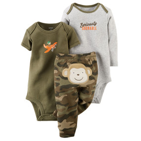 "Carter's Baby Boys ""Seriously Adorable"" 3-Piece Bodysuit & Monkey Pant Set, 121D624"
