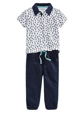 First Impressions Baby Boys Sailboat-Print Polo & Pants Set, Navy Nautical