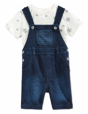First Impressions Baby Boys 2-Piece Star T-Shirt & Shortall Set, Indigo Wash