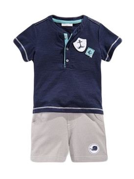 First Impressions Baby Boys 2Pcs Henley Short Sleeve T-Shirt & Shorts Set, Light Granite