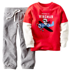 "Carter's Baby Boys ""Mommy's Wingman"" Long-Sleeve Tee and Sweatpants"