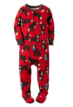 Carters Baby Boys St. Bernard Long Sleeve Zip Up Footed Sleep & Play, Red