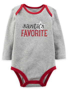 "Carter's Baby ""Santa's Favorite"" Long Sleeve Bodysuit, Gray"