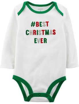 "Carter's Baby Boys ""Best Christmas Ever"" Long Sleeves Bodysuit, White"