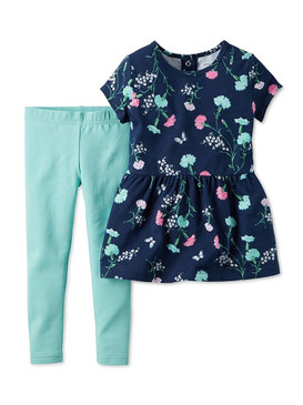 Carter's Baby Girls 2-Piece Floral-Print Peplum Tunic & Mint Leggings Set