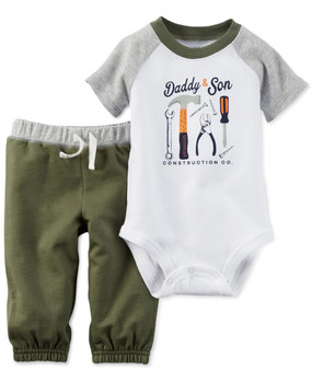 "Carter's Baby Boys 2-Piece Short-Sleeve ""Daddy & Son"" Bodysuit & Pants Set, Olive"