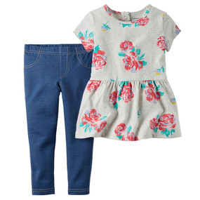 Carter's Baby Girls 2-Piece Rose-Print Tunic & Leggings Set, 239G159PRT