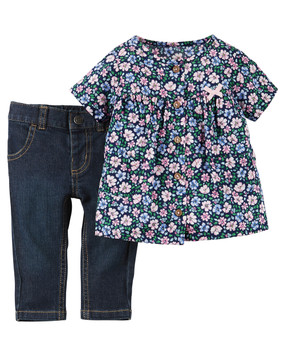 Carter's Baby Girls Floral-Print Top & Jeans Set, 127G094FL