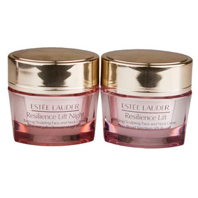Estee Lauder Resilience Lift Firming/Sculpting Face & Neck Creme, Day & Night Travel Set (0.5oz/15ml each)