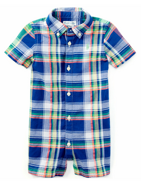 Ralph Lauren Baby Boys Cotton Short Sleeve Madras Shortall, Blue/Green Multi