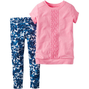 Carter's Girls 2-Piece Pink Tunic & Floral-Print Leggings Set