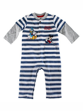 "Disney Store Baby Boys Mickey Mouse and Donald Duck ""Little Voyager"" Knit Romper"