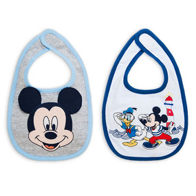 Disney Store Baby Mickey Mouse and Donald Duck Bib 2-Pack, Blue/Gray/White, One Size
