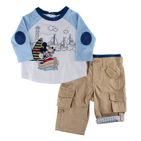 Disney Store Baby Boys Mickey Mouse Woven Top and Pants Set, White/Blue/Khaki