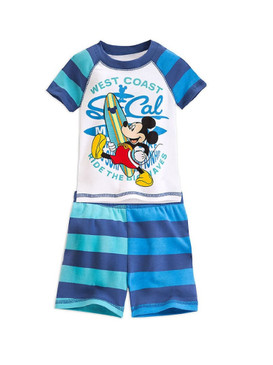 "Disney Store Boys Mickey Mouse ""West Coast"" PJ PALS Short Sleep Set, White/Blue"