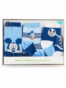 Disney Store Baby Boys Mickey Mouse & Donald Duck Sock Set 3-Pack, Blue
