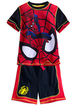 Disney Store Boys Marvel Spider-Man PJ PALS Sleep Short Set, Black/Red