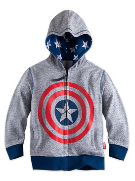 Disney Store Boys Captain America Icon Hoodie, Gray