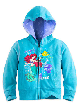 "Disney Store Girls Ariel & Flounder -The Little Mermaid ""Daring Curious"" Hoodie"