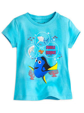 "Disney Store Girls - Finding Dory - "" Bubble Buddies"" Short Sleeve T-Shirt, Blue"