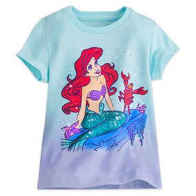 Disney Store Girls Ariel & Sebastian - The Little Mermaid - Short Sleeve T-Shirt