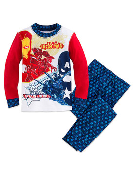 Disney Store Boys Marvel's Team Iron Man/Team Captain America PJ Pals Pajama Set