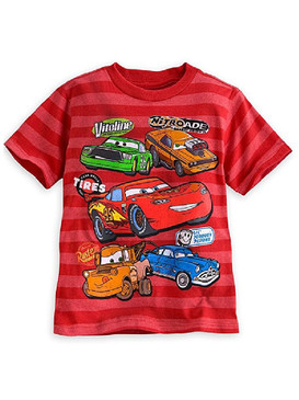 Disney Store Boys Lightning McQueen Striped - Cars - Short Sleeve T-Shirt, Red