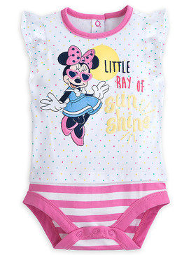 "Disney Store Baby Girls Minnie Mouse ""Little Ray Of Sun Shine"" Cuddly Bodysuit"