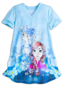Disney Store Girls Anna & Elsa - Frozen - Short Sleeve Nightshirt, Blue