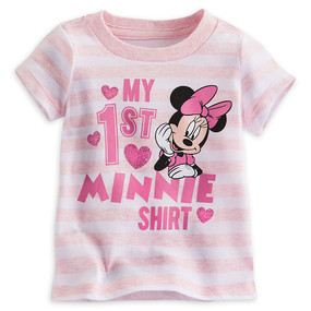 "Disney Store Baby Girls Minnie Mouse ""My 1st Minnie Shirt"" Short Sleeve T-Shirt"