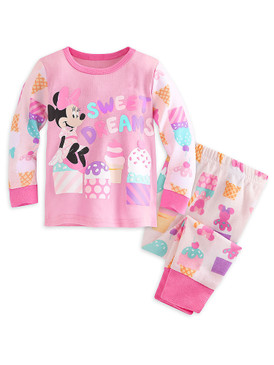"Disney Store Baby Girls Minnie Mouse ""Sweet Dreams"" PJ Pals Pajama Set, Pink"