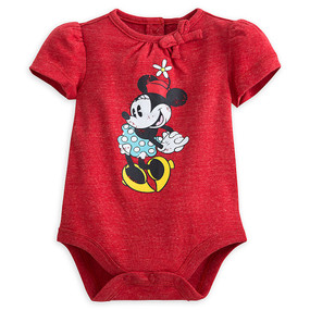 Disney Store Baby Girls Minnie Mouse Vintage Cuddly Short Sleeve Bodysuit, Red