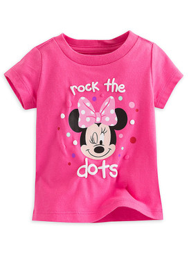 "Disney Store Baby Girls Minnie Mouse ""Rock The Dots"" Short Sleeve T-Shirt, Pink"