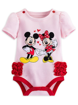 Disney Store Baby Girls Mickey & Minnie Mouse Short Sleeve Cuddly Bodysuit
