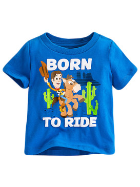 "Disney Store Baby Boys Woody & Bullseye - Toy Story - ""Born To Ride"" T-Shirt"