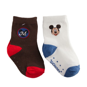 Disney Store Baby Boys Mickey Mouse Sock Set 2-Pack, Brown/White