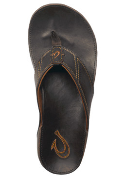 OluKai Nui Leather Sandals Flip Flops for Men