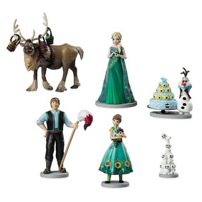 Disney Store Anna and Elsa Frozen Fever Figure Figurine 6 Pcs Play Set