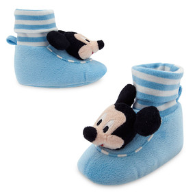 Disney Store Mickey Mouse Plush Slippers for Baby Boys