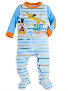 Disney Store Baby Boys Mickey Mouse and Pluto Long Sleeve Stretchie Sleeper