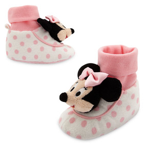 Disney Store Baby Girls Minnie Mouse Plush Slippers, Pink/White