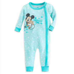 "Disney Store Baby Boys Mickey Mouse ""Snuggle Time"" Stretchie Sleeper, Green"