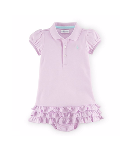 Ralph Lauren Baby Girls Polo Short Sleeve Dress & Bloomer Set