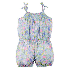Carter's Baby Girls Floral Romper, Blue, 118G311FL