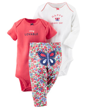 "Carter's Baby Girls 3‑Piece ""Very Lovable"" Bodysuit & Floral‑Print Pants Set, Butterfly"