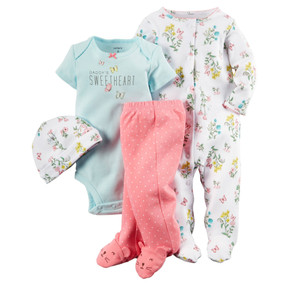 "Carter's Baby Girls 4-pc. ""Daddy's Sweetheart"" Bodysuit & Legging Set"