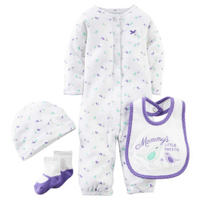 "Carter's Baby Girls 4-pc ""Mommy's Litte Sweetie"" Bird Layette Set, Purple/white"