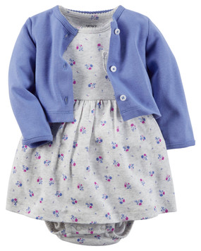 Carter's Baby Girls 2-Piece Bodysuit Dress & Cardigan Set, Blue
